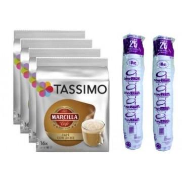 Tassimo Marcilla Cafe Con Leche 64 T Discs + 50 Vasos