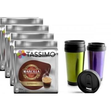 Tassimo Espresso Marcilla 64 Bebidas +Vaso Térmico