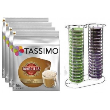 Tassimo Marcilla Cafe Con Leche 64 + Dispensador