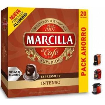 Marcilla Intenso 20 Capsulas de Aluminio Nespresso